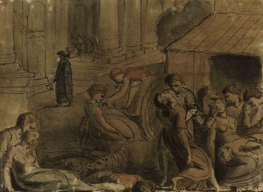Ofiary dżumy na obrazie Williama Blake'a (domena publiczna).