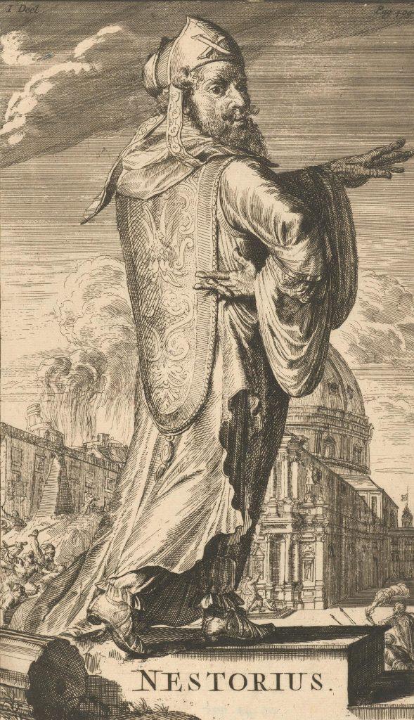 XVII-wieczne wyobrażenie Nestoriusza (Romeyn de Hooghe/domena publiczna).