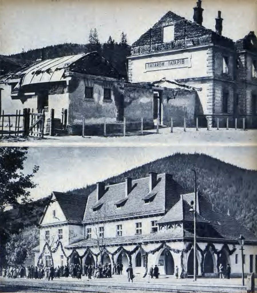 Dworzec w Tatarowie w 1918 roku oraz dziesięć lat później (domena publiczna).