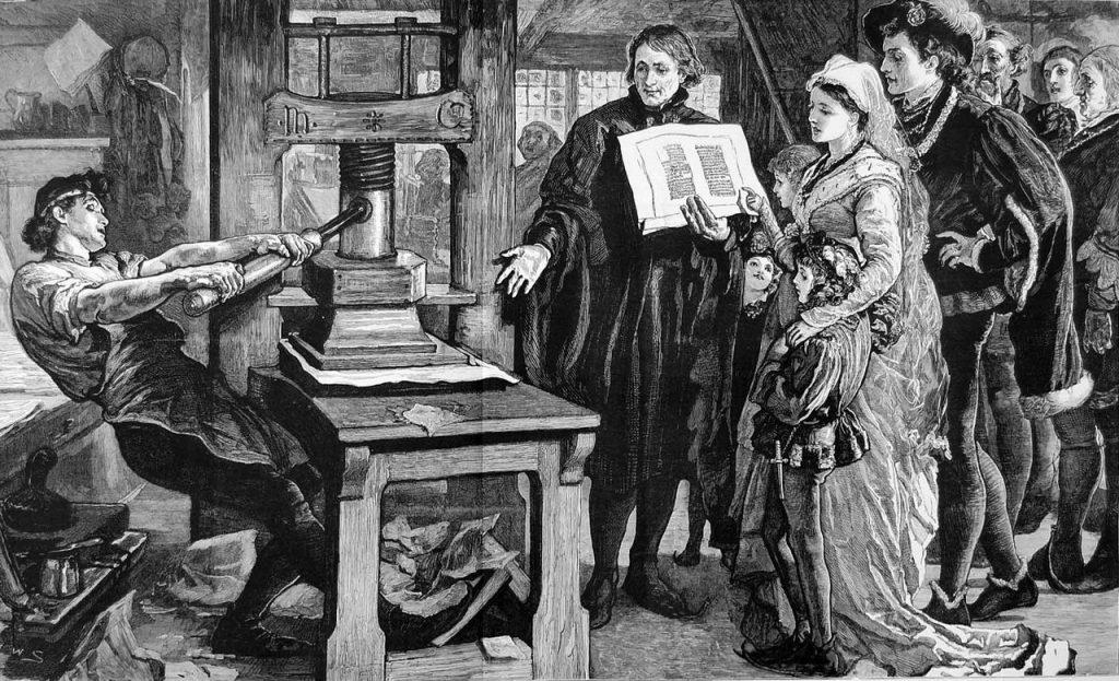 Późnośredniowieczny drukarz przy pracy. Tak przynajmniej wyobrażano to sobie w pod koniec XIX wieku (domena publiczna).
