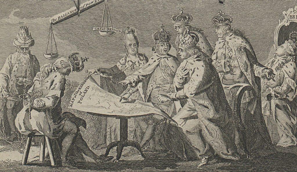 Angielska satyryczna rycina przedstawiająca sytuację w Europie w 1772 roku (domena publiczna).
