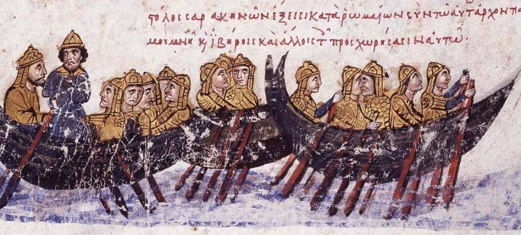 Arabska flota płynąca na podbój Krety (domena publiczna).