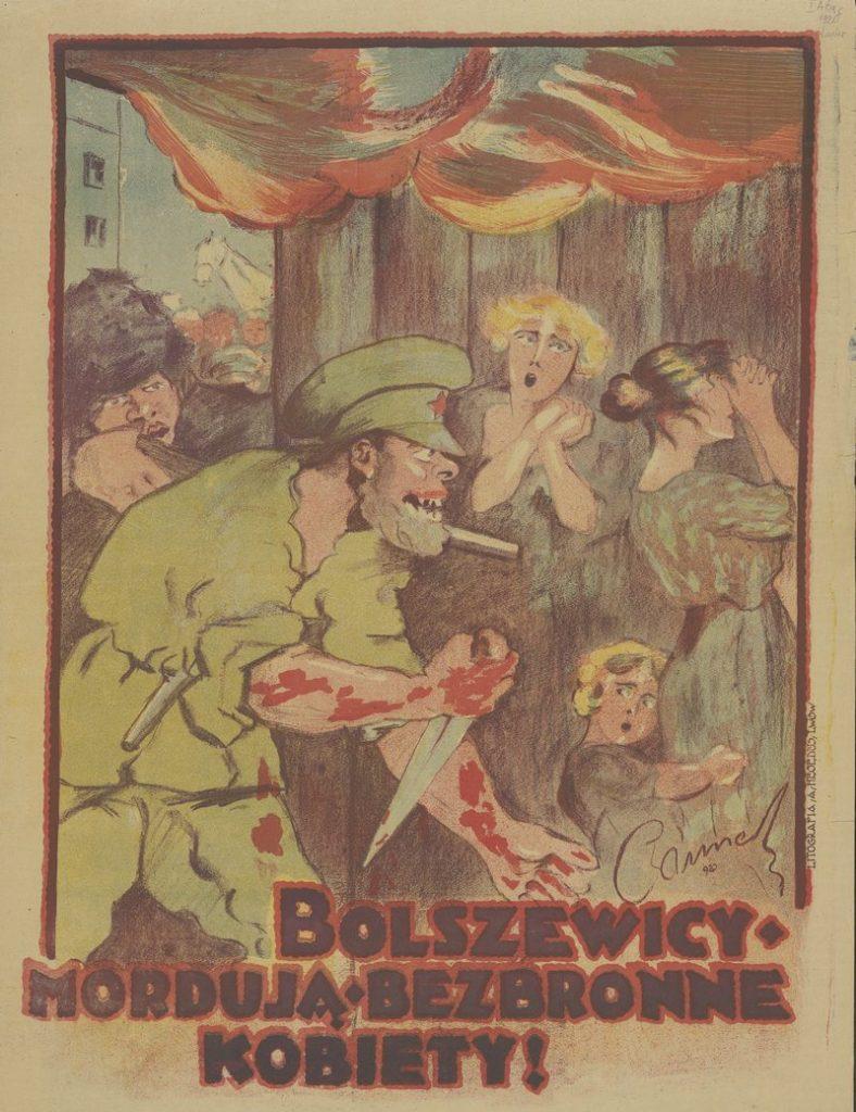 Najpopularniejsza wersja mówi, że Teresa Grodzińska zginęła walcząc z bolszewikami, którzy próbowali ją zgwałcić. Na ilustracji polski plakat z 1920 roku (domena publiczna).