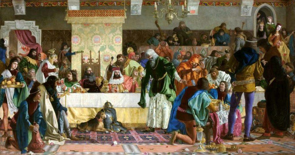 Do skarbca Kazimierza Wielkiego wpływała rocznie równowartość tony czystego złota. Na ilustracji obraz Bronisława Abramowicza przedstawiający króla podczas uczty u Wierzynka (domena publiczna).