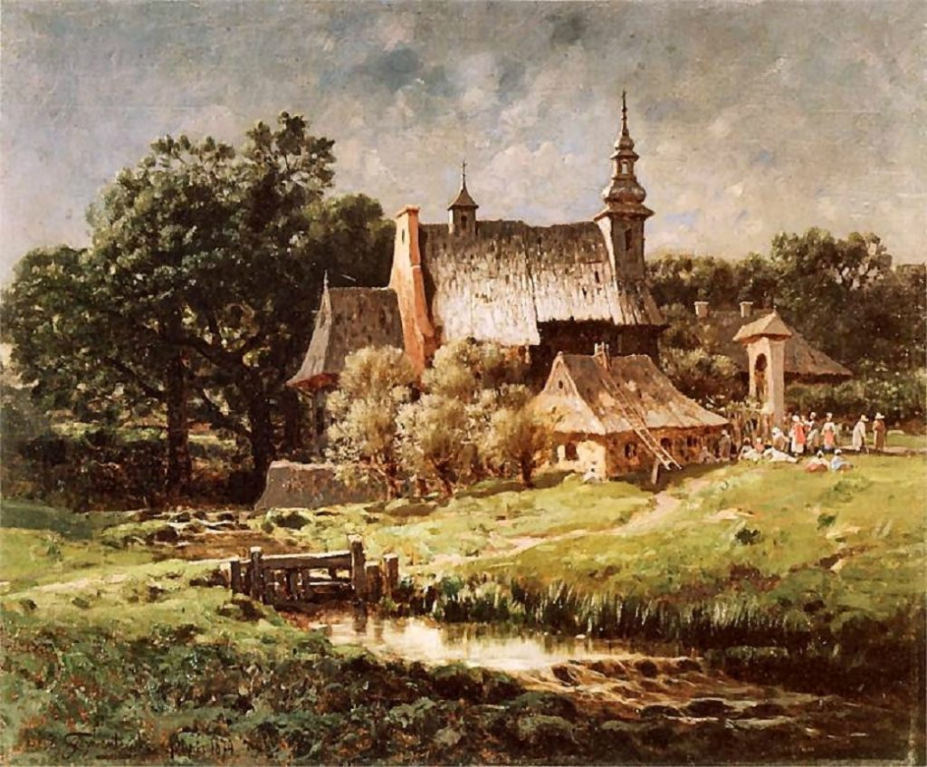 Na terenie Wielkiego Księstwa Litewskiego dotarcie na mszę i powrót do domu mogło zająć cała niedzielę (Józef Szermentowski/domena publiczna).