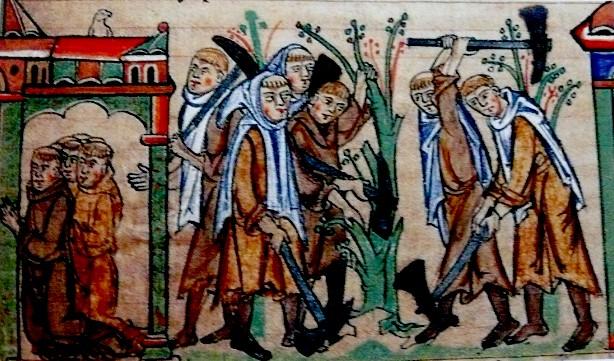 Mnich z Rievaulx miał dosyć między innymi ciężkie pracy fizycznej (domena publiczna).