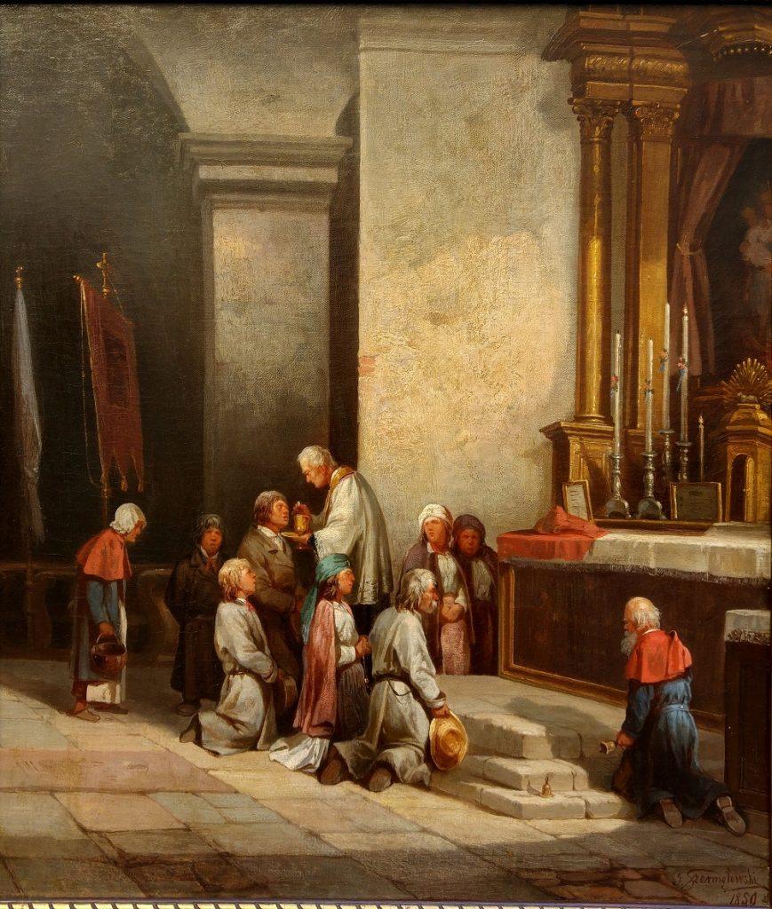 Polscy chłopi chcąc dotrzeć na mszę musieli nieraz poświęcić na to wiele godzin (Józef Szermętowski/domena publiczna)