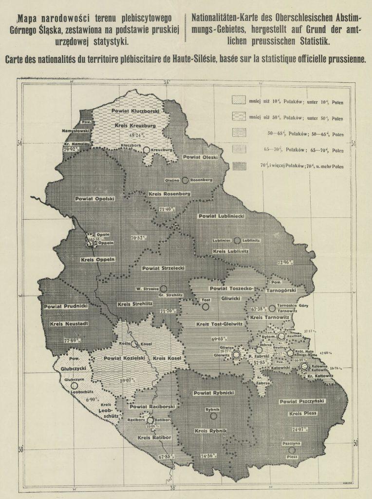 Mapa z 1920 roku przedstawiająca podział narodowościowy na obszarze plebiscytowym (domena publiczna).
