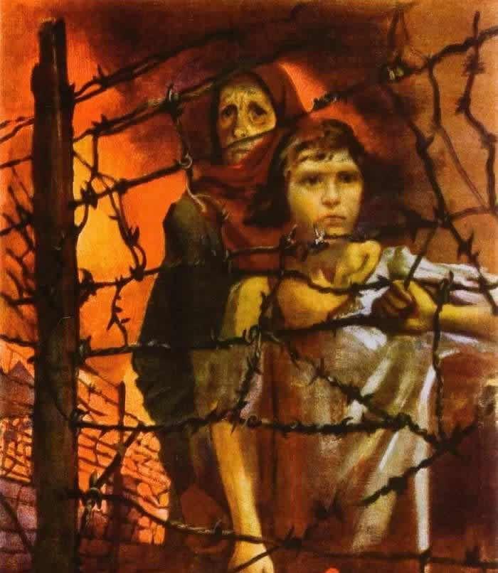 Niemcy spędzili na poleskie bagna dziesiątki tysięcy cywilów do prowizorycznych obozów koncentracyjnych (domena publiczna).