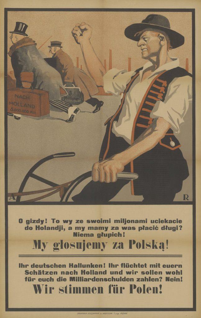 W plebiscycie mogli wziąć wszyscy, którzy przyszli na świat na Górnym Śląsku. Na ilustracji kolejny polski plakat z okresu plebiscytu (domena publiczna).