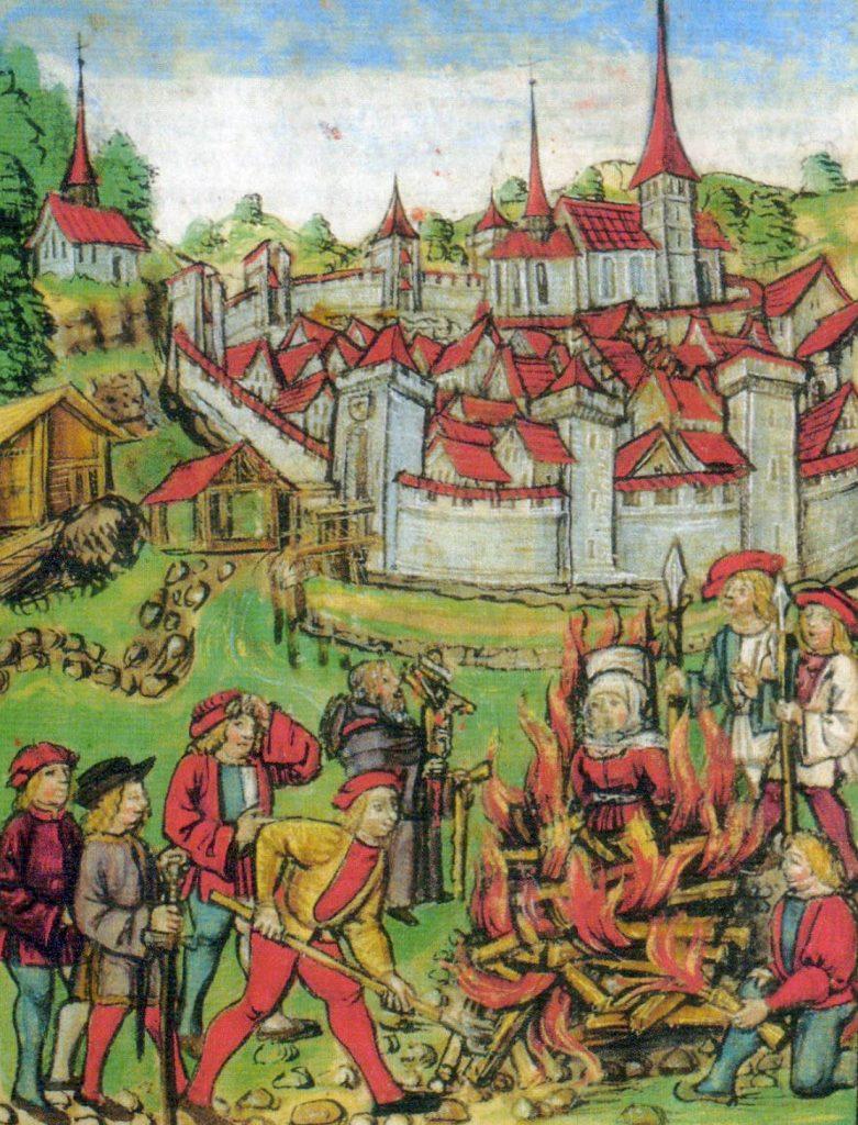 Scena przedstawiająca spalenie czarownicy ze szwajcarskiego Willisau w 1447 (domena publiczna).