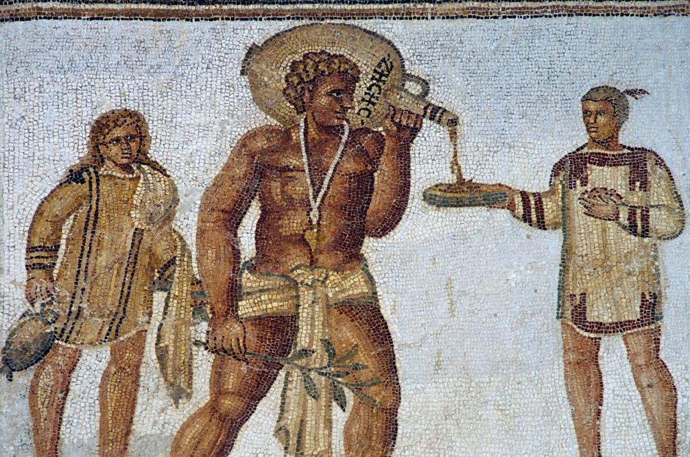 Rzymscy niewolnicy na mozaice z Tunezji. II wiek n.e.