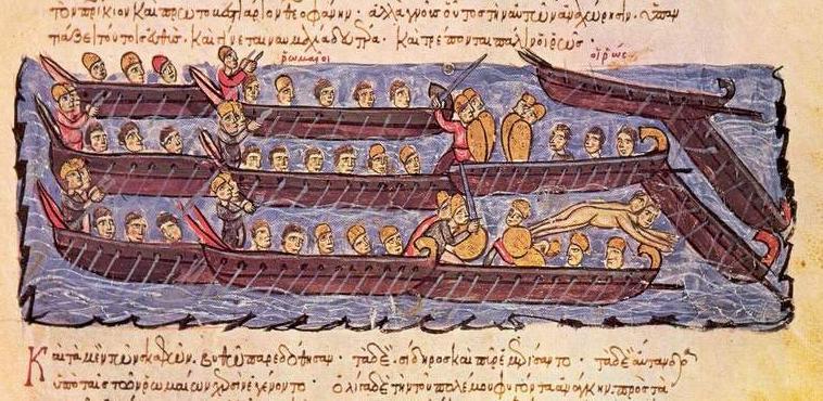 Starcie bizantyjskiej floty z Rusinami (domena publiczna).