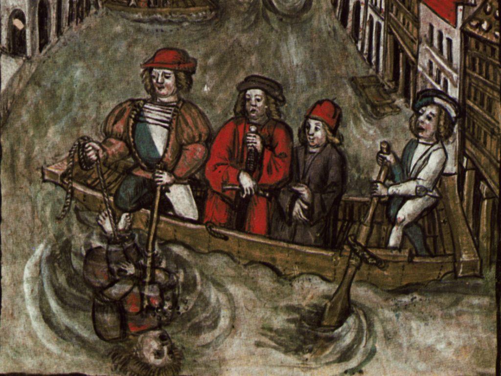 Miniatura z niemieckiej kroniki z początku XVI wieku przedstawiająca topienie skazańca. Czasami błędnie opisywana jako tak zwana próba wody (domena publiczna).