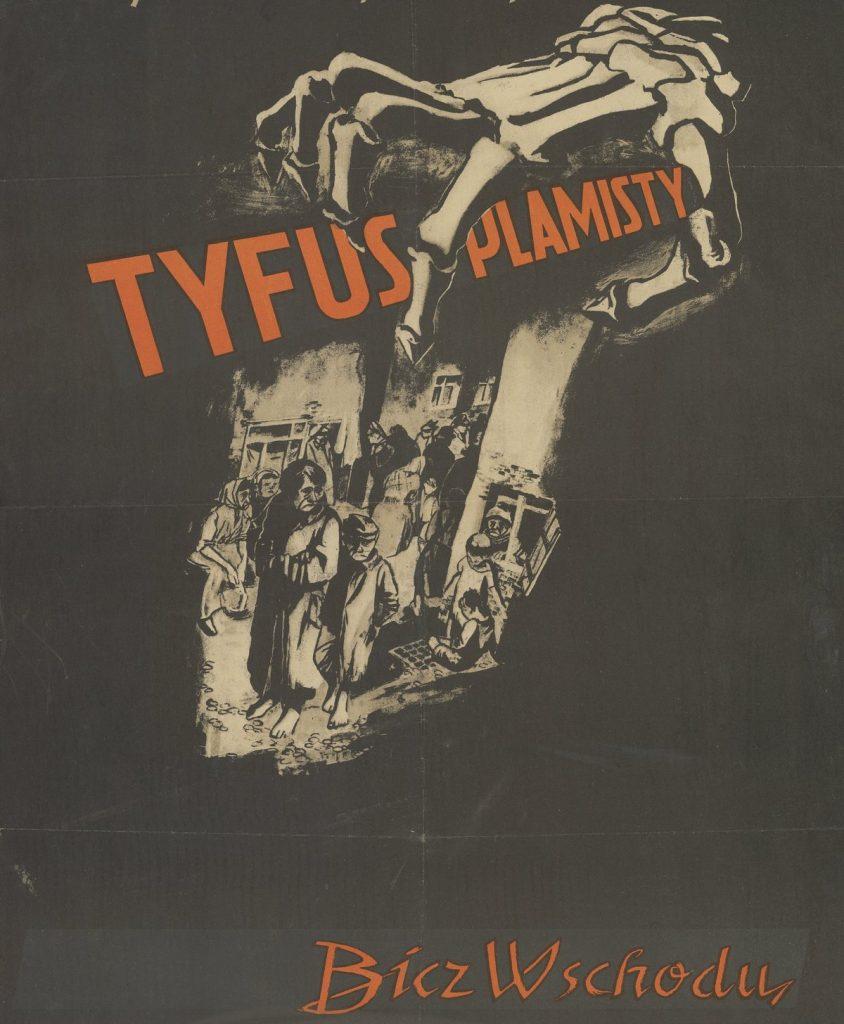 Niemcy, którzy sami bali się tyfusu jak ognia, postanowili wykorzystać go w roli broni biologicznej. Na ilustracji niemiecki plakat z okresu II wojny światowej (domena publiczna).