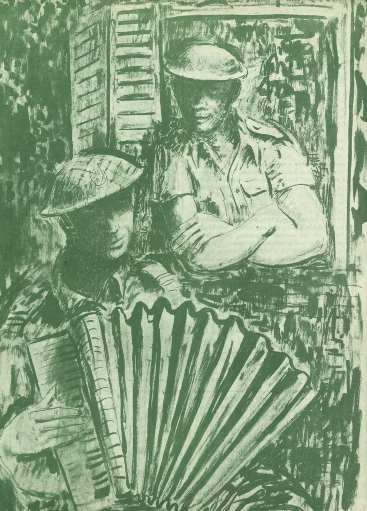 W szeregach Samodzielnej Brygady Sstrzelców Karpackich nie brakowało żołnierzy utalentowanych muzycznie (domena publiczna).
