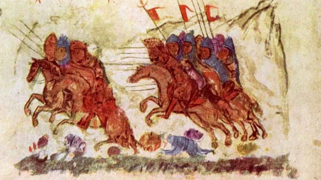 Wojska bizantyjskie gromiące Bułgarów. Ilustracja z XIV-wiecznej kroniki (domena publiczna).