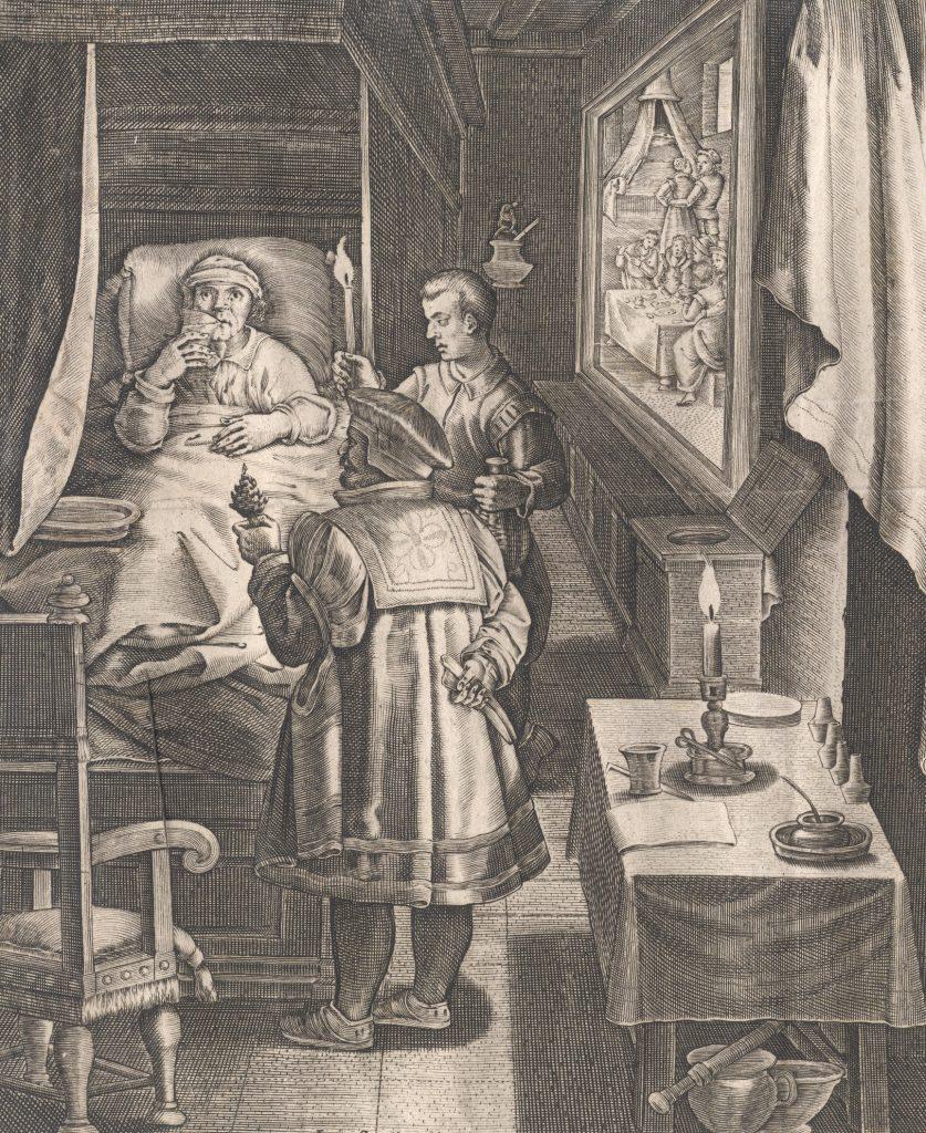 XVI-wieczna rycina przedstawiająca chorego na syfilis (domena publiczna).