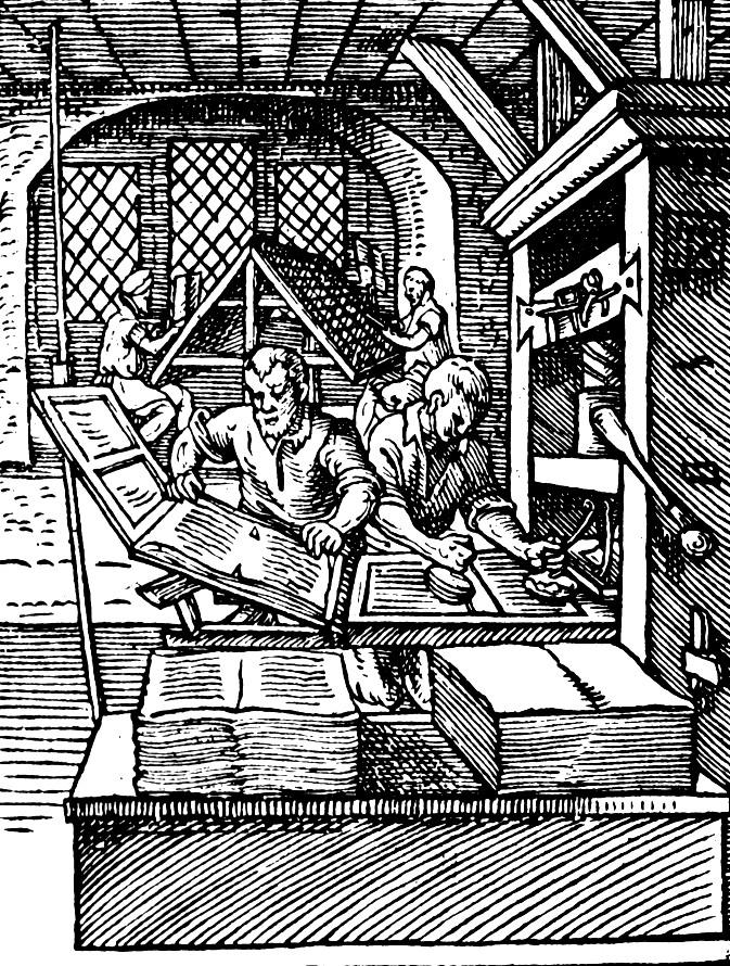 XVI-wieczny drzeworyt przedstawiający drukarzy przy pracy (domena publiczna).