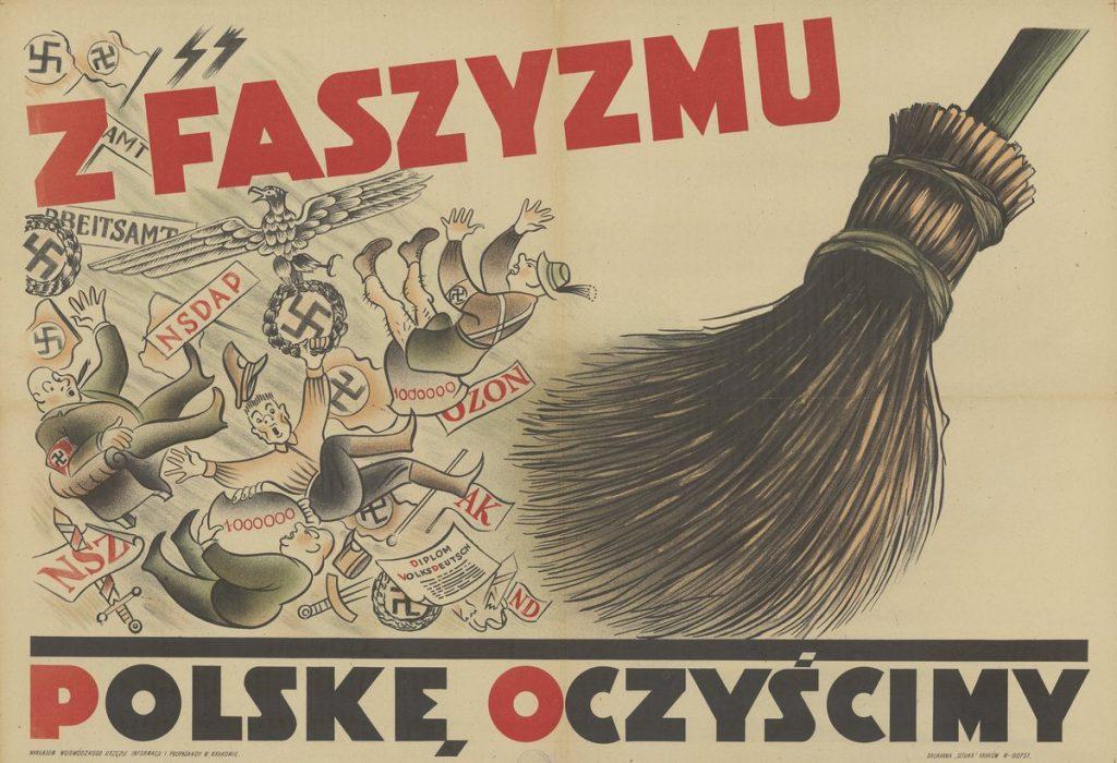 Komunistyczny plakat z 1945 roku zaliczający Armię Krajową do grona faszystów (domena publiczna).