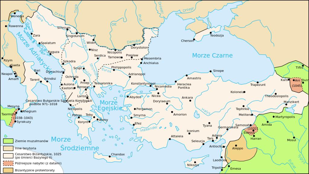 Zasięg Imperium Bizantyńskiego w 1025 roku (Cplakidas/CC BY-SA 2.5).