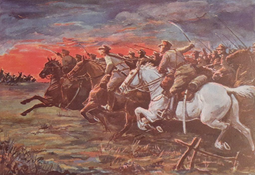 Bitwa pod Komarowem na obrazie Stanisława Heykowskiego (domena publiczna).