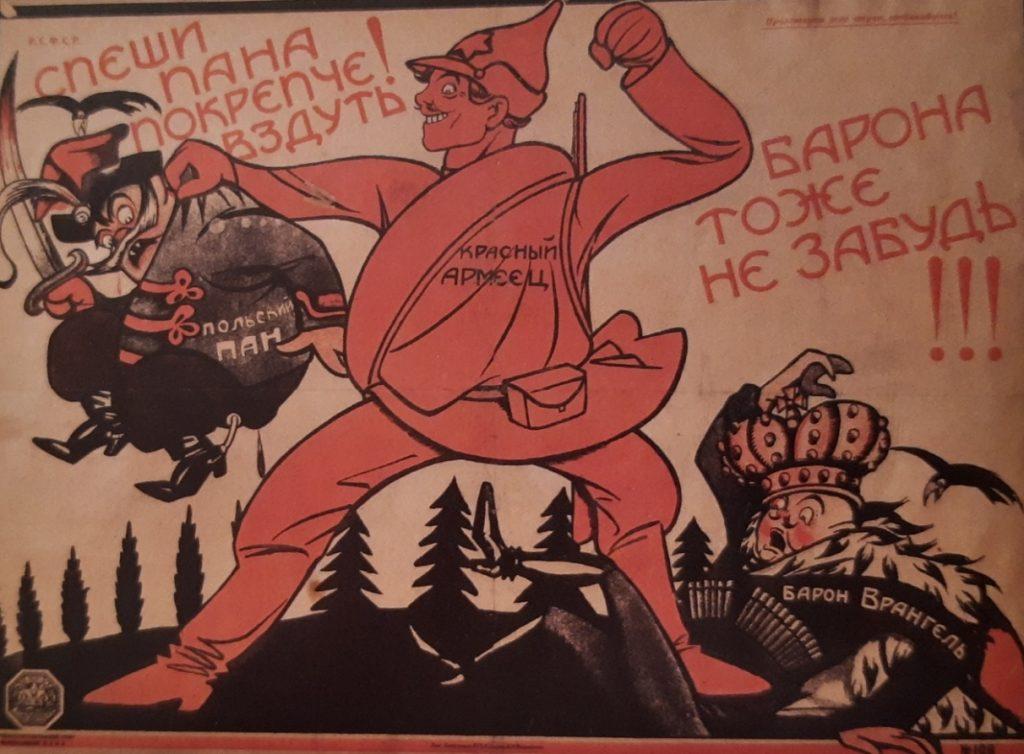 """Bolszewicki plakat z 1920 roku z hasłem """"Śpiesz sprać polskiego pana. Nie zapomnij o baronie"""". Druga część odnosiła się do generała Biała barona Piotra Wrangla (domena publiczna)."""