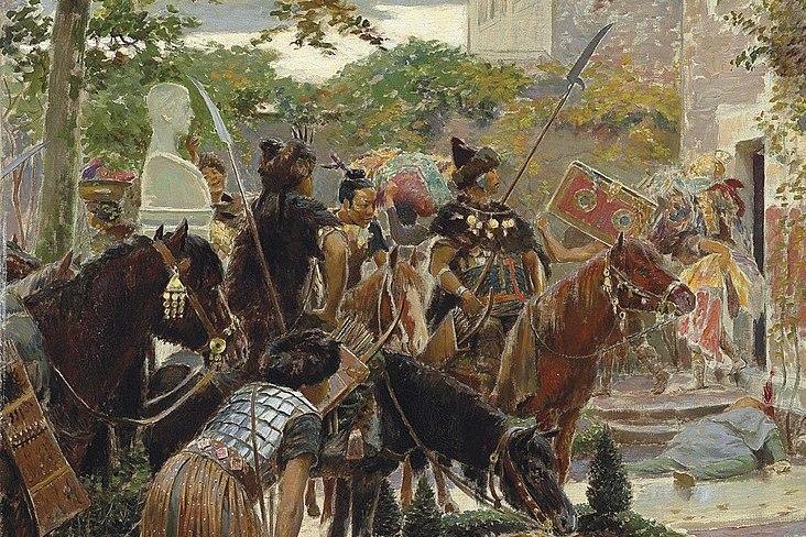 Czy to susza sprawiała, że Hunowie ruszyli na zachód doprowadzając do upadku imperium rzymskiego? (Georges Rochegrosse/domena publiczna).
