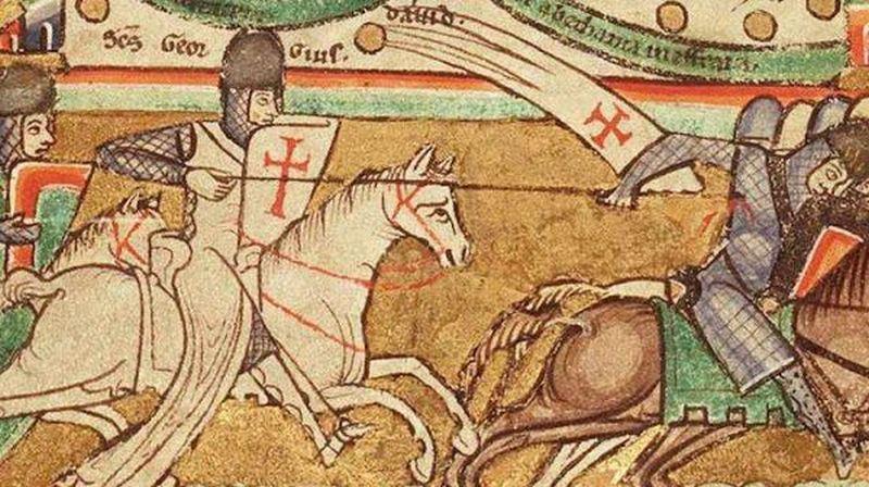 Gerard z Ridefort uważał że jego świętym obowiązkiem jest walka z niewiernymi. Ich przewaga nie miała znaczenia (domena publiczna).
