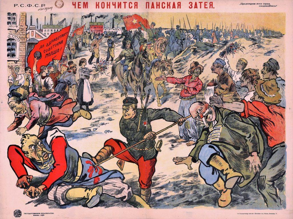 Kolejny przykład bolszewickiej propagandy z 1920 roku (domena publiczna).