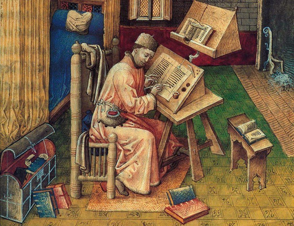 Leonardo do pisania oficjalnych listów zawsze potrzebował skryby (domena publiczna).