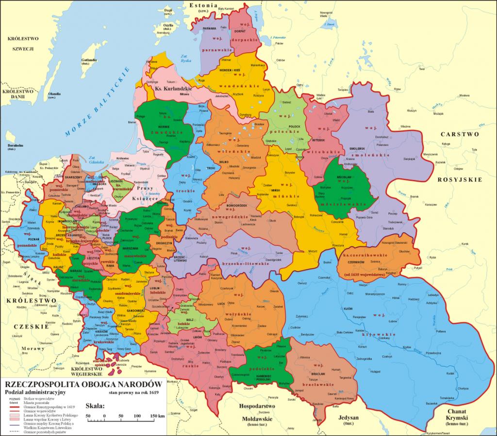 Na początku XVII wieku osiem miast w Rzeczpospolitej miało ponad 10 000 mieszkańców (Poznaniak/CC BY-SA 3.0).