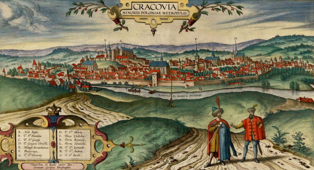 Panoramama Krakowa z początku XVII wieku (domena publiczna).
