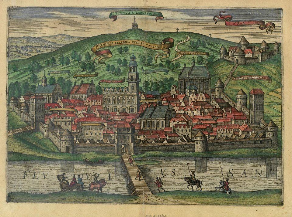 Przemyśl z początku XVII wieku na grafice Abrahama Hogenberga (domena publiczna).