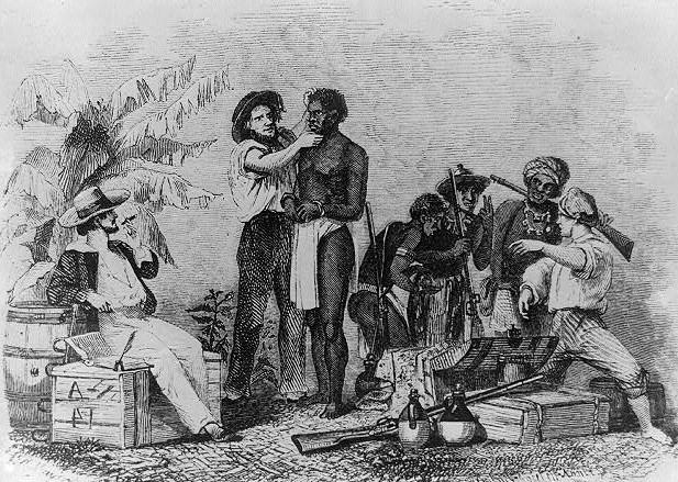 Rysunek Brantza Mayera przedstawiający oględziny niewolnika (domena publiczna).