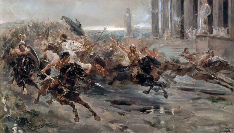 Najazd barbarzyńców obraz Ulpiano Checa (domena publiczna).