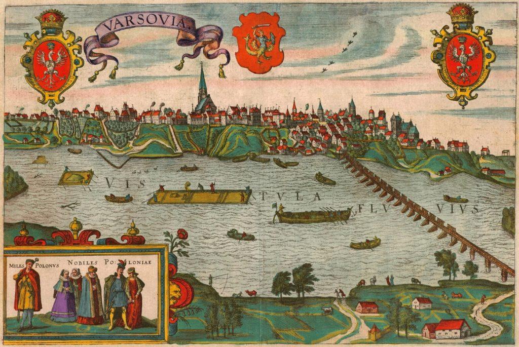 Widok Warszawy z przełomu XVI i XVIII wieku (domena publiczna).