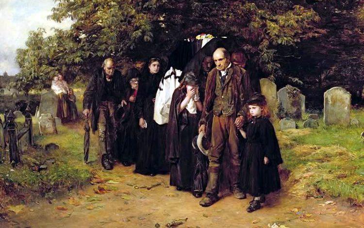 Angielski wiejski pogrzeb na obrazie Franka Holla (domena publiczna).