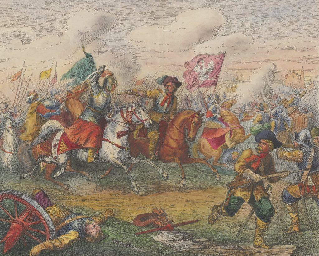 Bitwa pod Kircholmem na rysunku Henryka Pillatiego (domena publiczna).