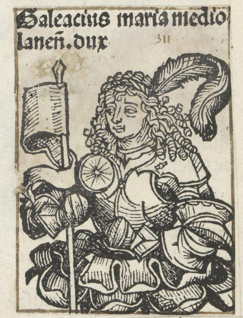 Galeazzo Maria Sforza na rycinie zamieszczonej w Liber Chronicarum.