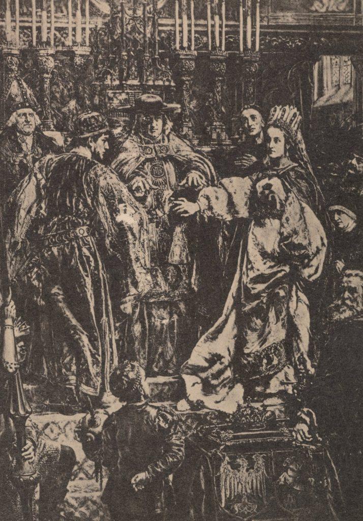 Kazimierz Jagiellończyk i Elżbieta Rakuszanka doczekali się aż sześciu synów. Na ilustracji ślub królewskiej pary według Jana Matejki (domena publiczna).