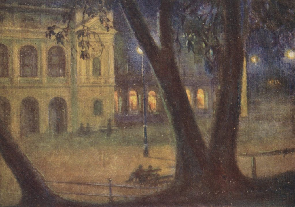 Krynicki dom zdrojowy nocą. Lata 30. XX wieku (Władysław Szulc/domena publiczna).