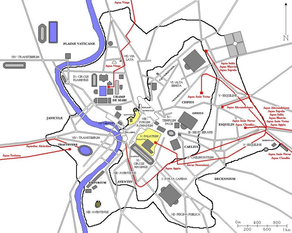 Mapa jedenastu akweduktów doprowadzających wodę do starożytnego Rzymu (Coldeel/CC BY-SA 3.0).