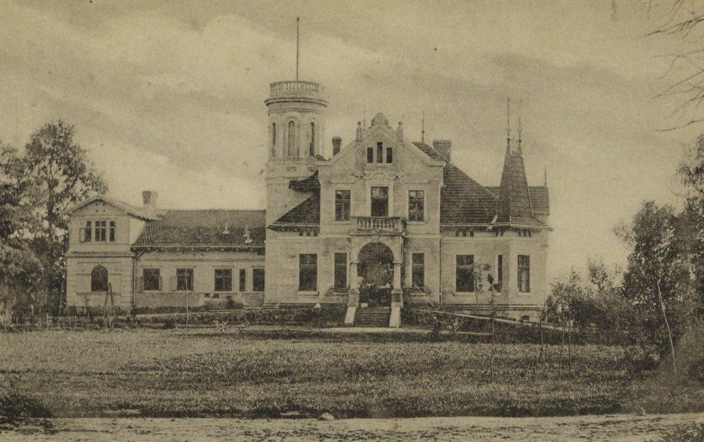 Pałac w Oglęborku na pocztówce z początku XX wieku (Stanisław Rachalewski/domena publiczna).