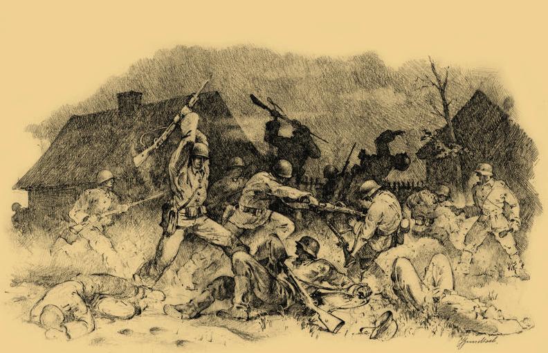 Rysunek weterana 11 Karpackiej Dywizji Piechoty Jana Gundlacha przedstawiający nocny atak na niemieckie pozycje. Ilustracja z książki Małopolska Wschodnia 1939 (materiały prasowe)