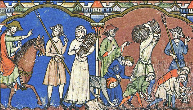 Z czasem mieszkańcy średniowiecznej Europu stawali się znów coraz niżsi (domena publiczna).