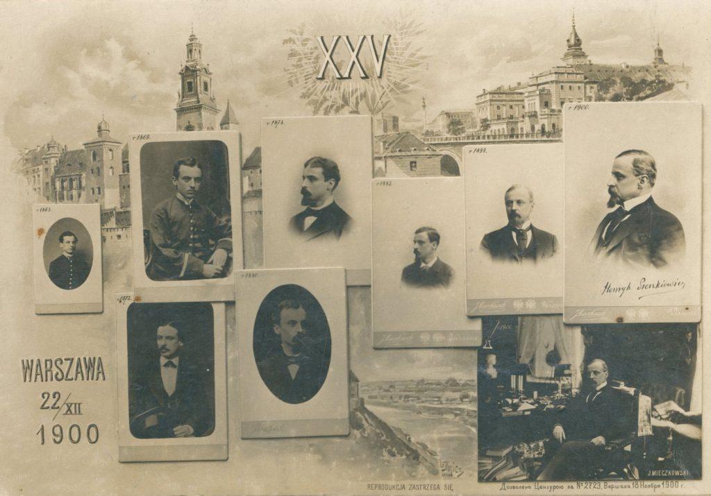 Tableau z portretami Henryka Sienkiewicza, wykonane z okazji jubileuszu 25-lecia pracy twórczej pisarza, obchodzonego 22 grudnia 1900 roku (Jan Mieszkowski/domena publiczna).