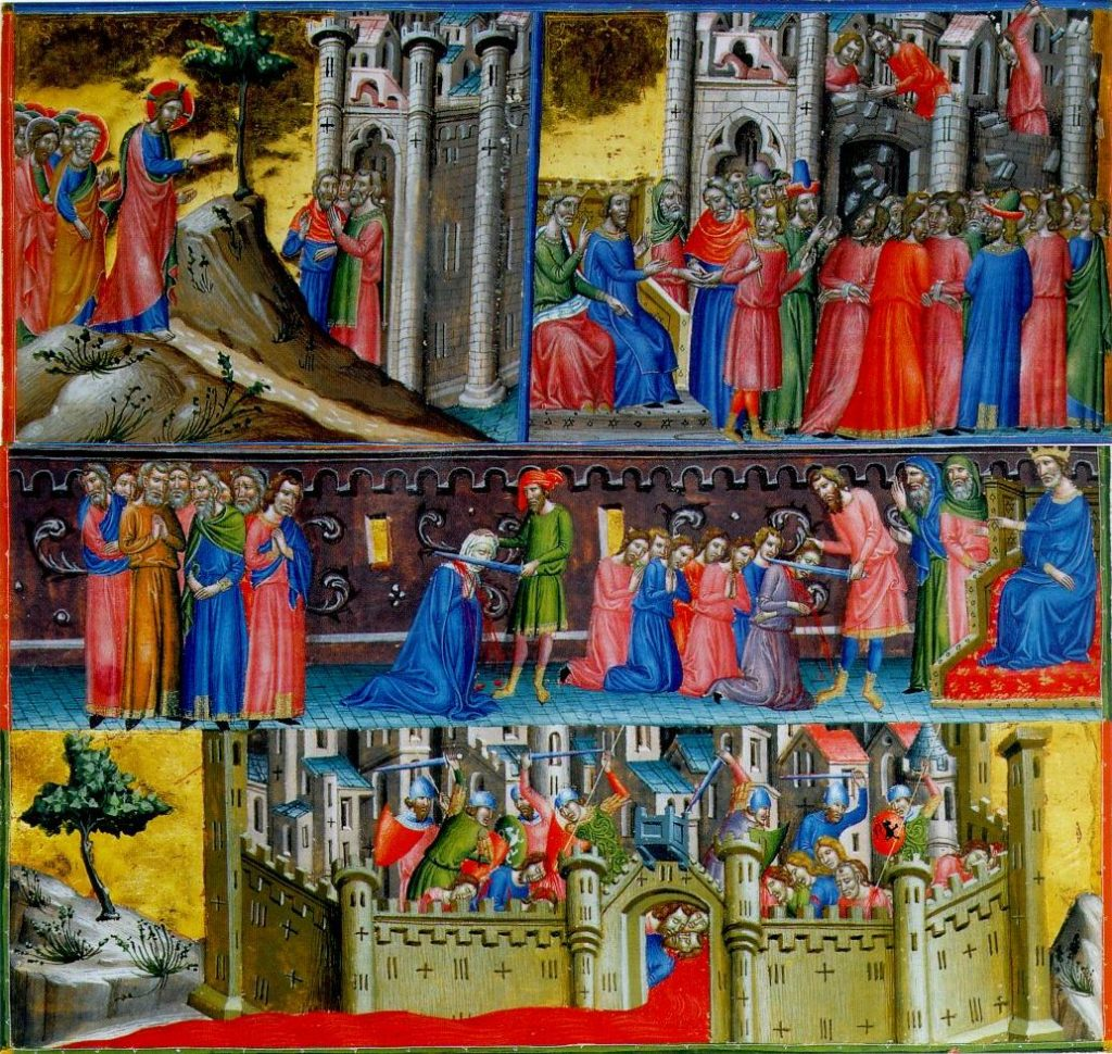 Miniatura z XIII wieku przedstawiająca masakrę mieszkańców Jerozolimy (domena publiczna).