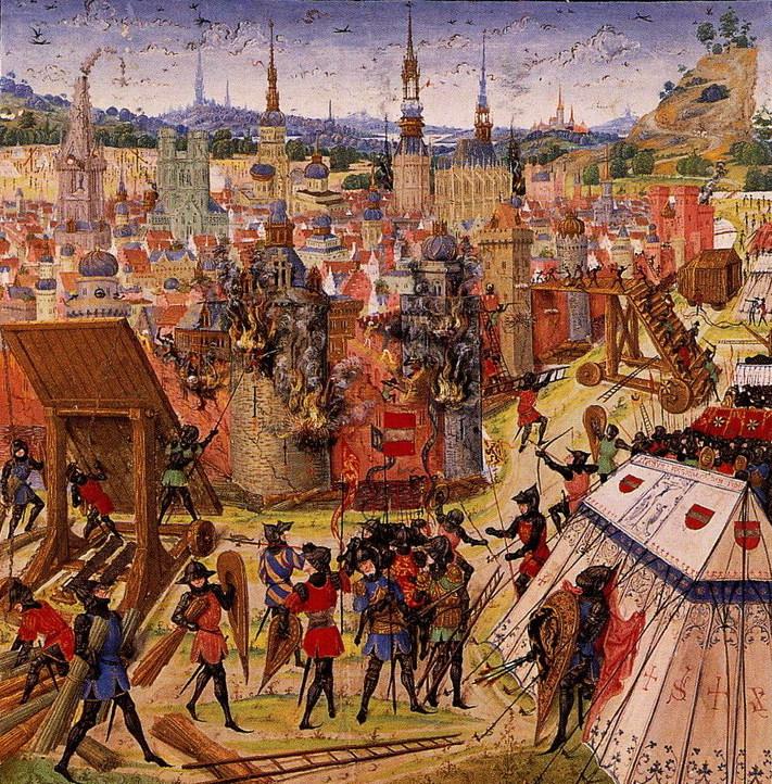 Zdobycie Jerozolimy na późnośredniowiecznej miniaturze (domena publiczna).