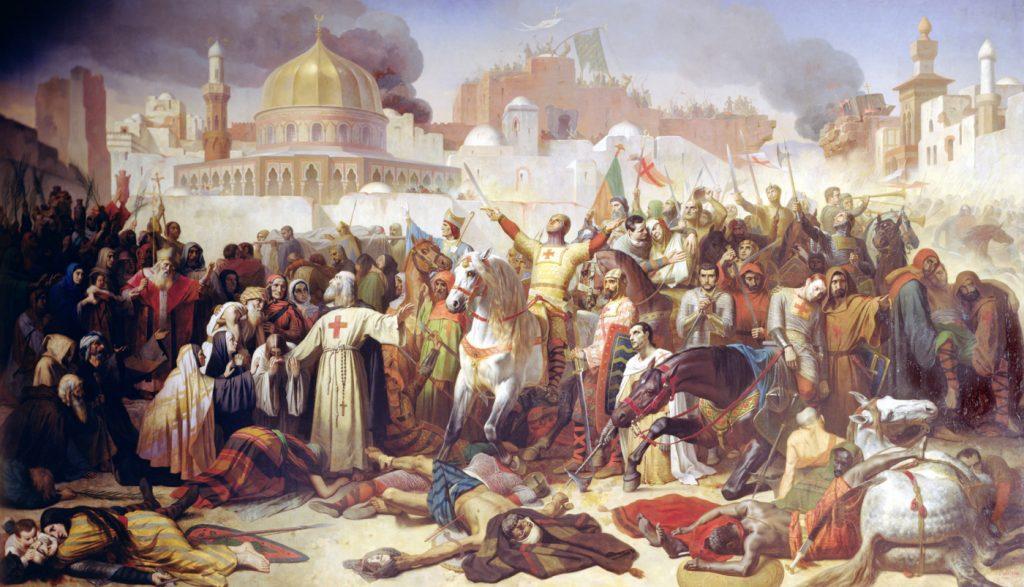 Zdobycie Jerozolimy przez krzyżowców. na XIX-wiecznym obrazie Émile'a Signola.